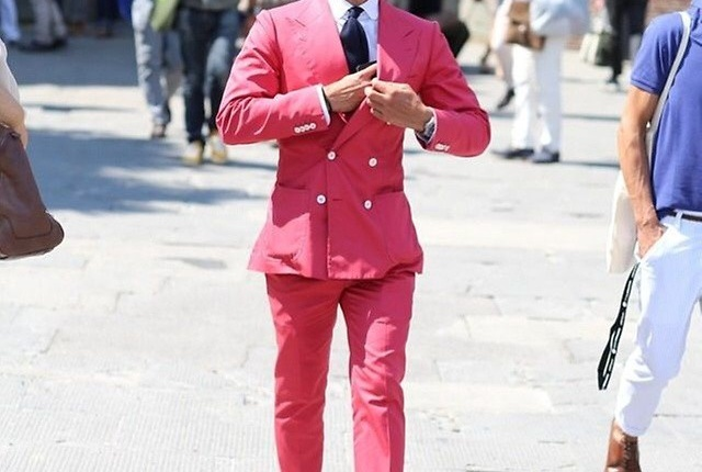 Casual Chic Pink Double-breasted suit