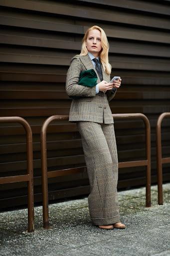 Women's in suit, Glenn check plaid fabric